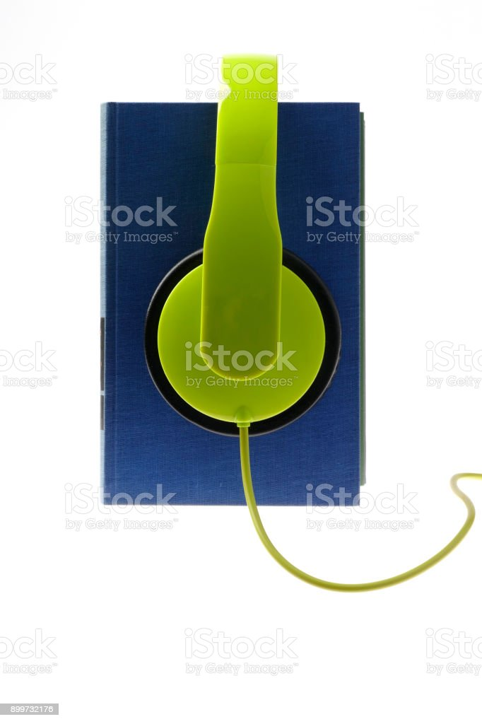Audiobooks on white background stock photo