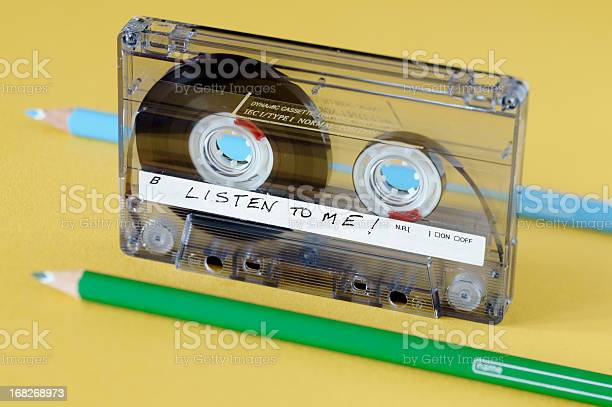 Audiocassette And Two Pencils Normally Used To Wind And Rewind Stock Photo - Download Image Now