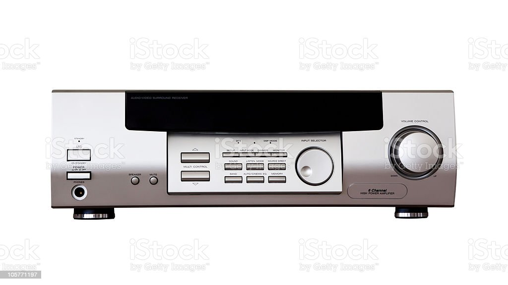 Audio-video front view isolated on white background stock photo