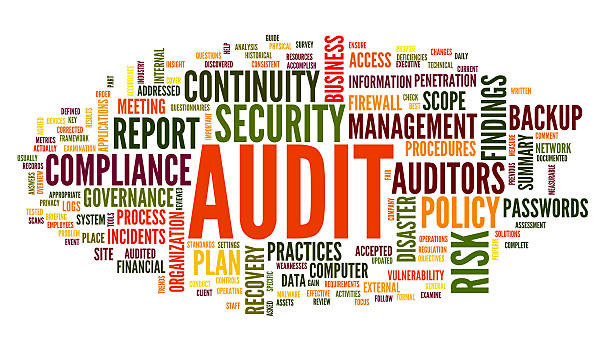 Audit and compliance in word cloud stock photo