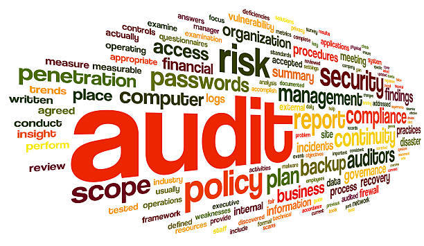 Audit and compliance  in word tag cloud stock photo