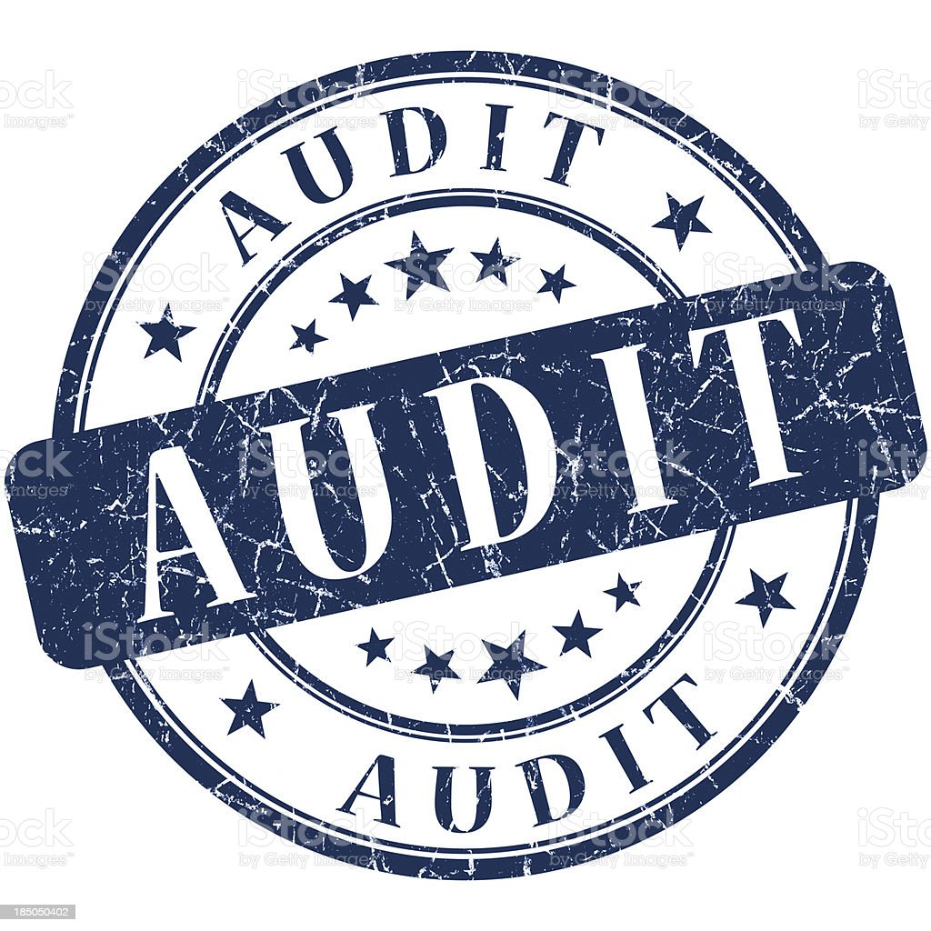 audit blue round stamp royalty-free stock photo