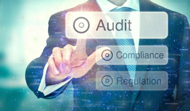 audit concept on a computer display. - ispezione contabile foto e immagini stock