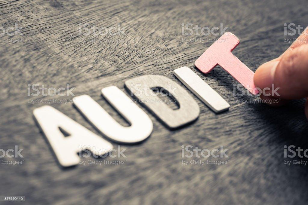 Audit Wood Letters stock photo