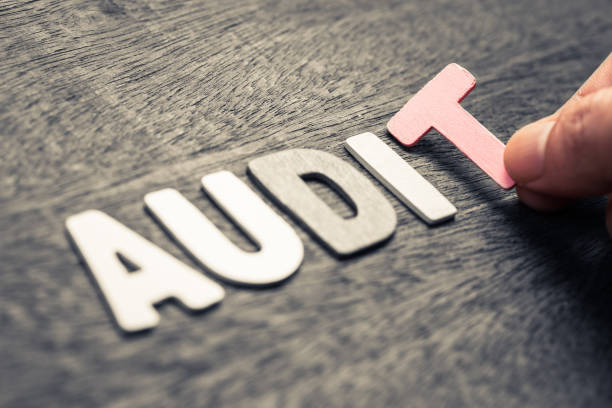 Audit Wood Letters stock photo