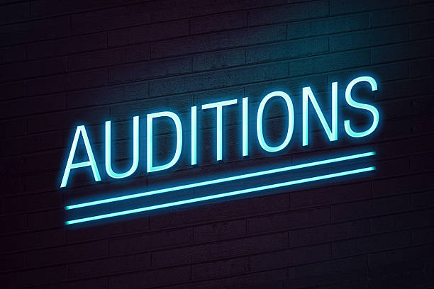 audition neon sign on wall - audition stock photos and pictures