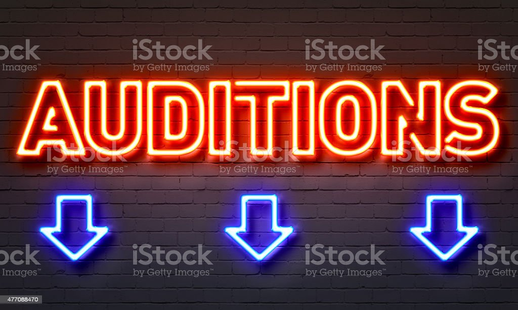 Auditions neon sign stock photo