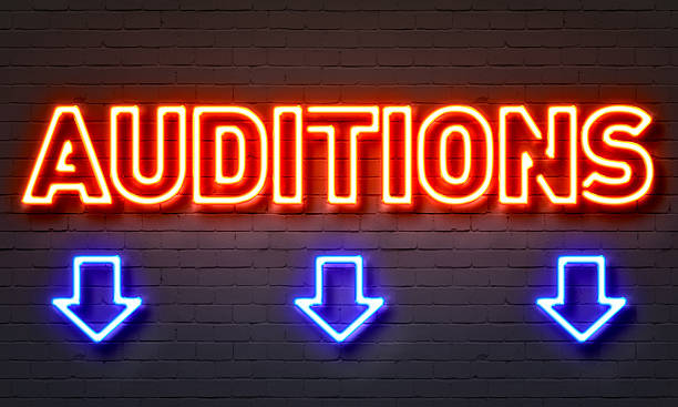 auditions neon sign - audition stock photos and pictures