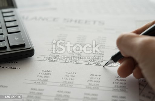 auditor auditing of financial statements. Bookkeeping, Accounting Concept.