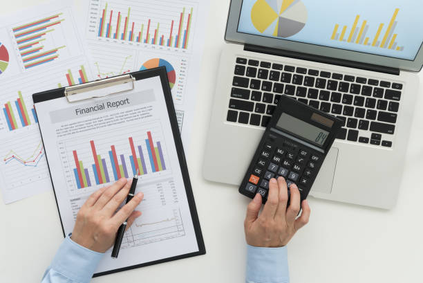 auditor auditing auditor reviewing data in financial statement. Accounting , Accountancy Concept. top view. accounting ledger stock pictures, royalty-free photos & images