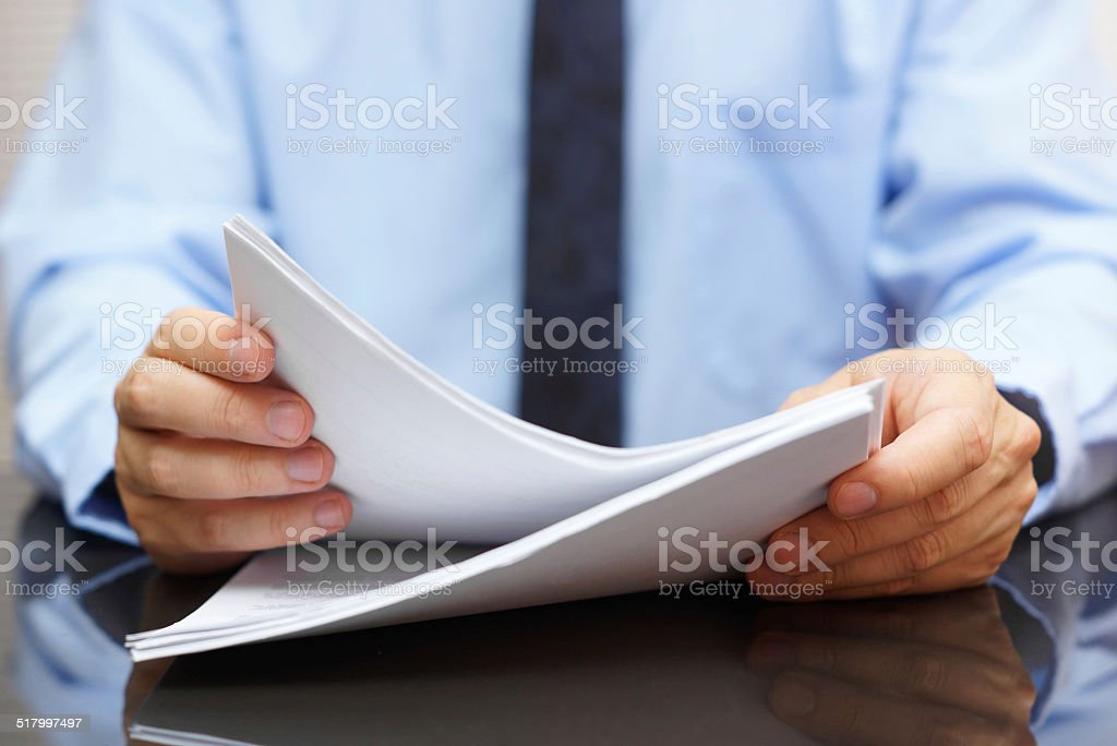 auditor is reading ducumentation stock photo