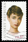 'Beijing, China - June 26, 2012: US postage stamp Audrey Hepburn(1929aa1993), famous British actress and humanitarian, Academy Award winner for Best Actress in 1953.'