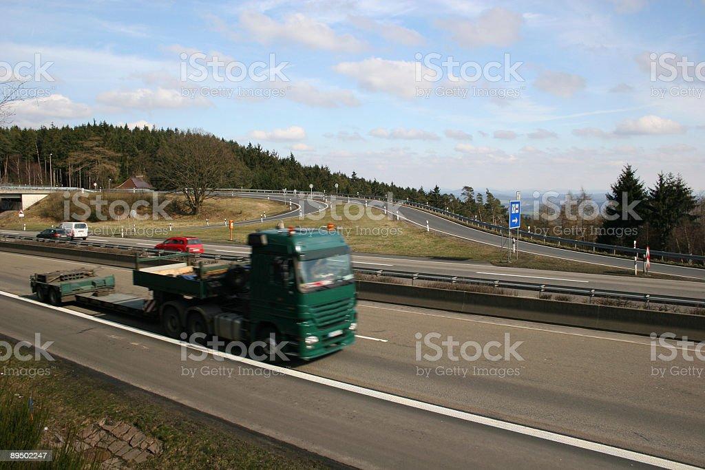 LKW auf Autobahn A7 im Knüll zwischen Kassel und Frankfurt royalty-free stock photo