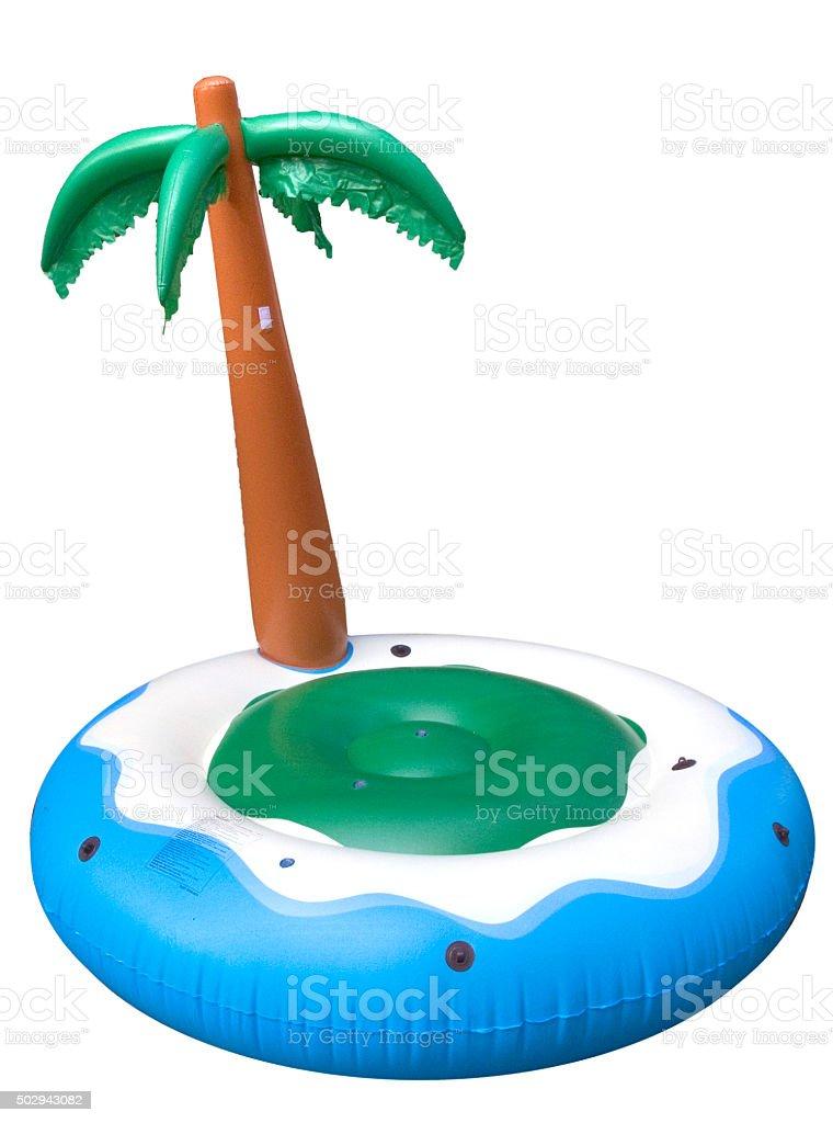 aufblasbare Badeinsel mit Palme stock photo