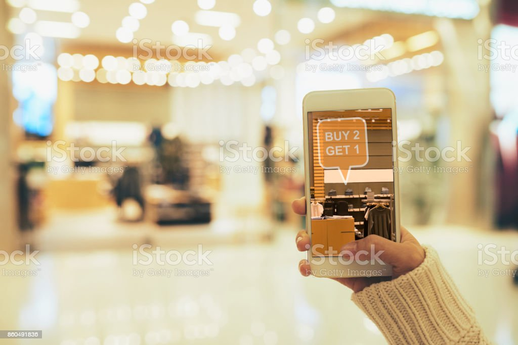 Augmented Reality App at Work stock photo
