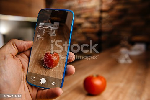 istock Augmented reality application using artificial intelligence for recognizing food 1075752640