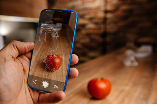 augmented reality application using artificial intelligence for recognizing food - augmented reality stock photos and pictures