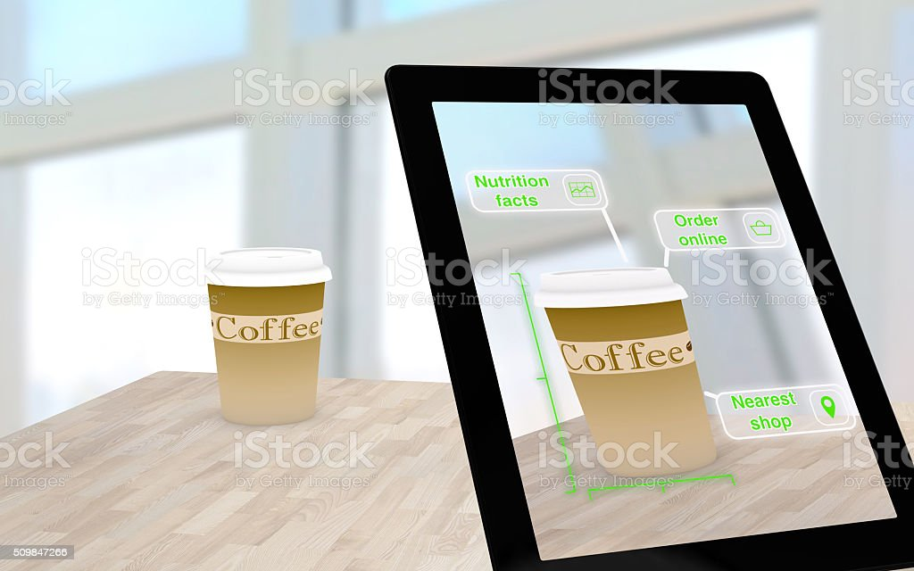 Augmented reality coffee on a table stock photo