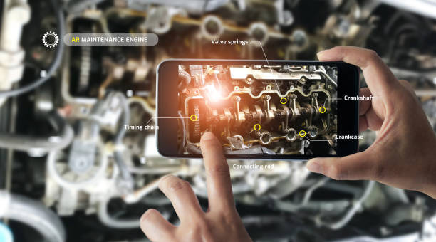 augmented reality concept. ar. industrial 4.0 , hand of engineer holding mobile smart phone using virtual ar to check the work of electric machine on smart factory background. - realtà aumentata foto e immagini stock