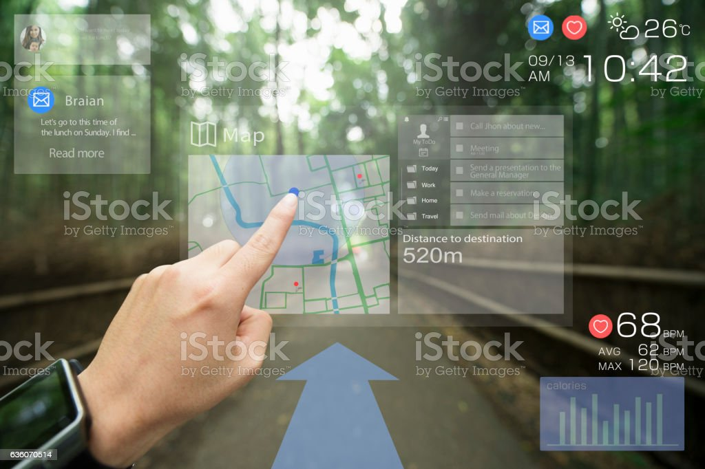 Augmented reality daily life in kyoto stock photo