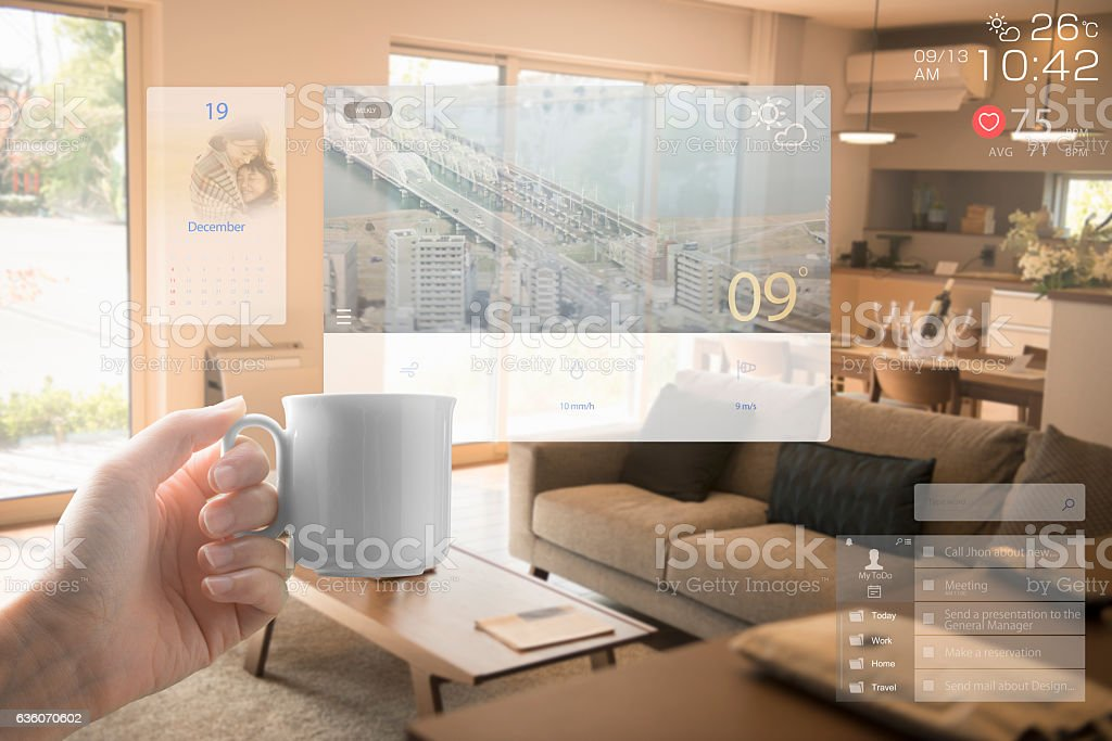 Augmented reality daily life stock photo