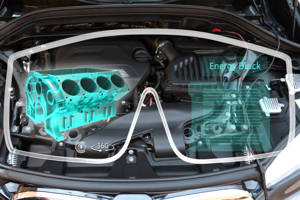 augmented reality glasses technology and engineering marketing concept. ar glasses with repair service application and 3d rendering of energy block 360 degrees with blur car engine room background - augmented reality stock photos and pictures
