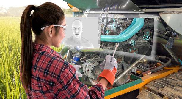 augmented reality glasses technology , smart agriculture farm , artificial intelligence adviser, industry 4.0 concept.young female farmer use ar glasses to fix tractor car machine with digital screen. - augmented reality stock photos and pictures