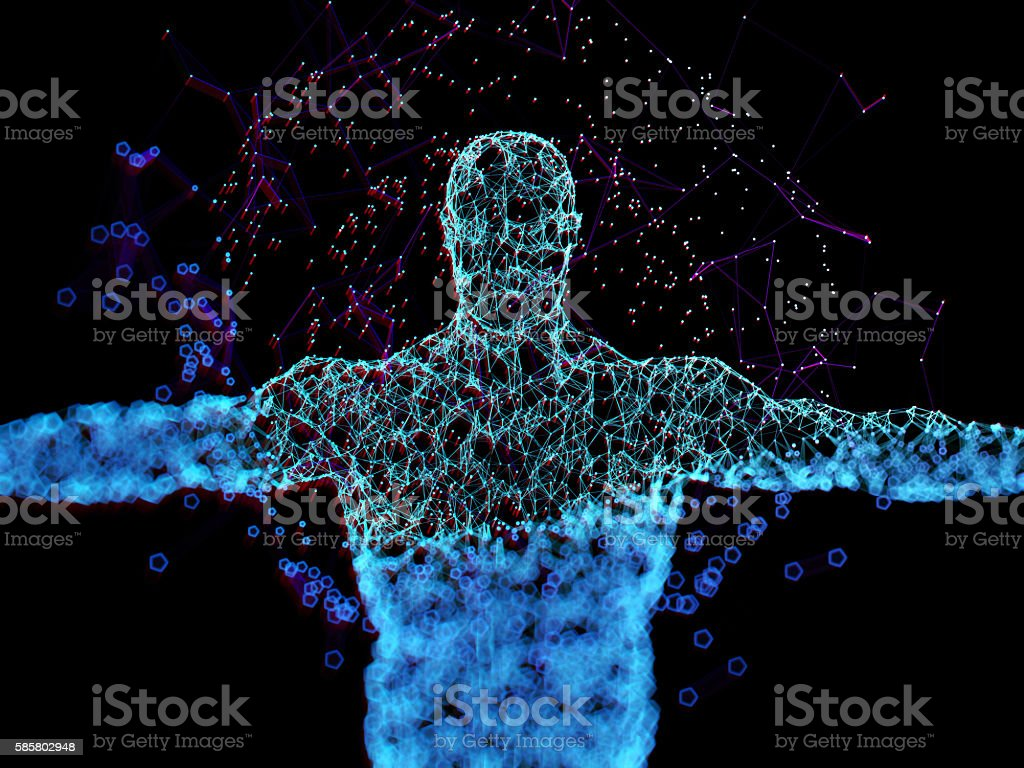 Augmented reality. Human anatomy. stock photo