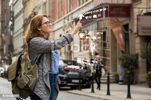 istock Augmented reality in marketing. Woman traveler with phone. 876495988