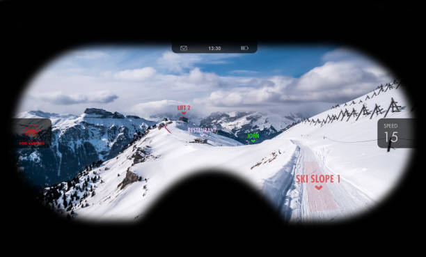 Augmented reality in ski goggles. Information about speed, places and slopes is displayed inside glasses. Concept of skiing in AR. stock photo