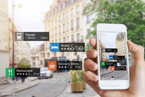 Augmented Reality Information Technology Hand Smartphone Screen Street Business Services Stock Photo - Download Image Now
