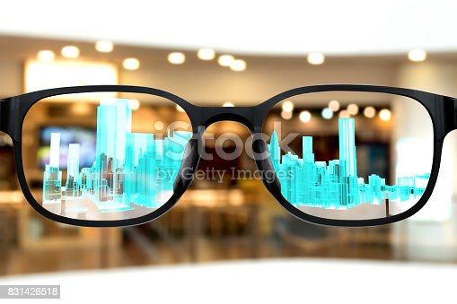 istock Augmented reality marketing and smart AR glasses technology concept. Customer using AR application see digital 3d rendering building with blur bokeh background. 831426518