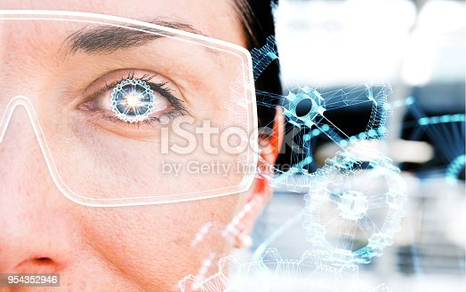 istock Augmented reality marketing and smart glasses technology concept. Customer using AR application to monitoring industry 4.0 factory and wireframe gears illustration popup. 954352946