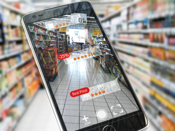 augmented reality marketing application concept.  mobile smart phone check relevant information about product in the supermarket. - augmented reality stock photos and pictures