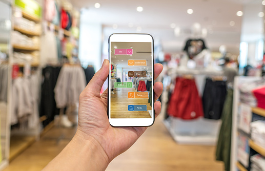 Augmented Reality Marketing Hand Holding Smart Phone Use Ar Application To Check Information Stock Photo - Download Image Now
