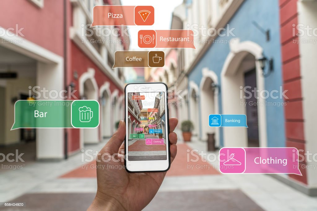 Augmented reality marketing street. Hand holding smart phone use AR application to check information vector art illustration