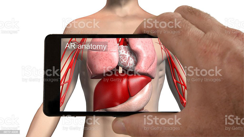 Augmented reality medical imaging app. stock photo