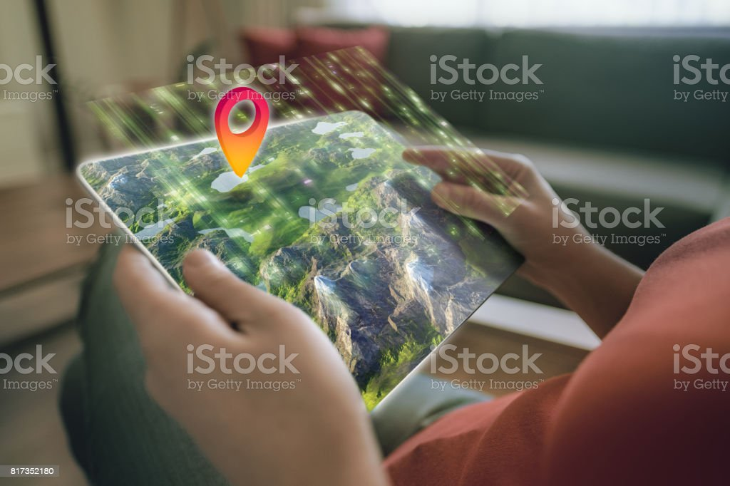 Augmented reality on a tablet stock photo