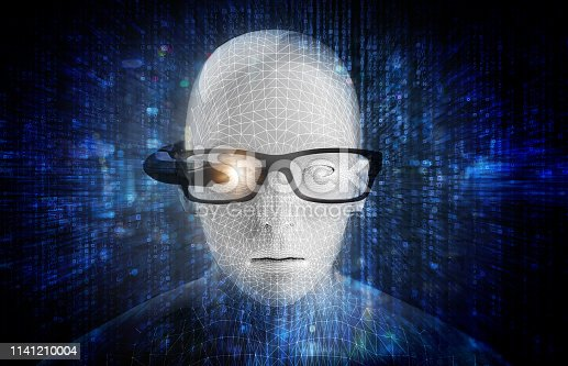 istock Augmented reality on smart AR glasses technology , accurate facial recognition biometric technology and artificial intelligence 4.0 concept. 3d Render of man wearing futuristic Ar glasses. 1141210004