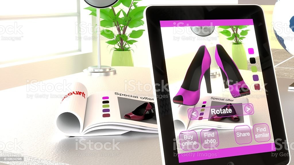 Augmented reality shopping concept illustration stock photo