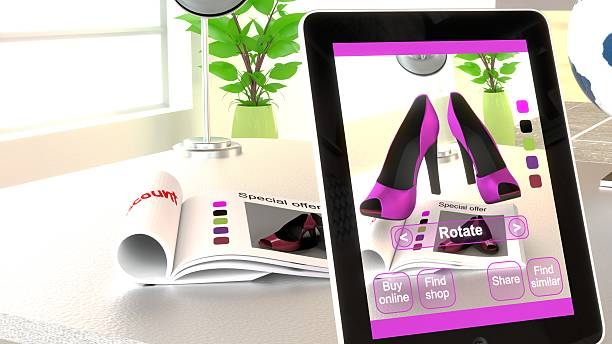 augmented reality shopping concept illustration - augmented reality stock photos and pictures