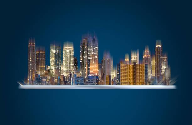 Augmented Reality-Technologie, smart-City-Innovation und Gebäudetechnik. Digital-Tablette mit Gebäude-Hologramm-Technologie – Foto