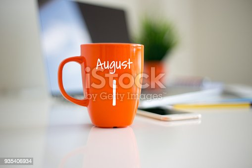 istock August 1 Calendar day on coffee cup 935406934
