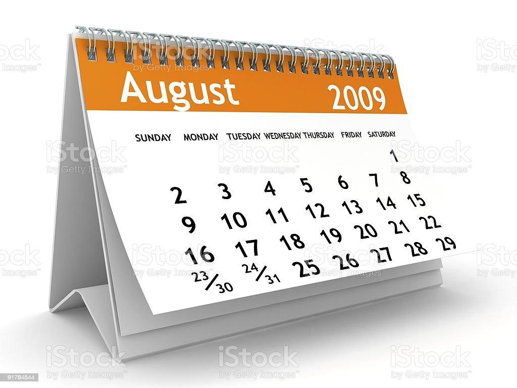 August 2009 - Orange Calendar series royalty-free stock photo