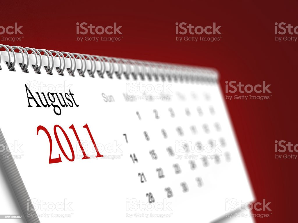 August 2011 calendar royalty-free stock photo