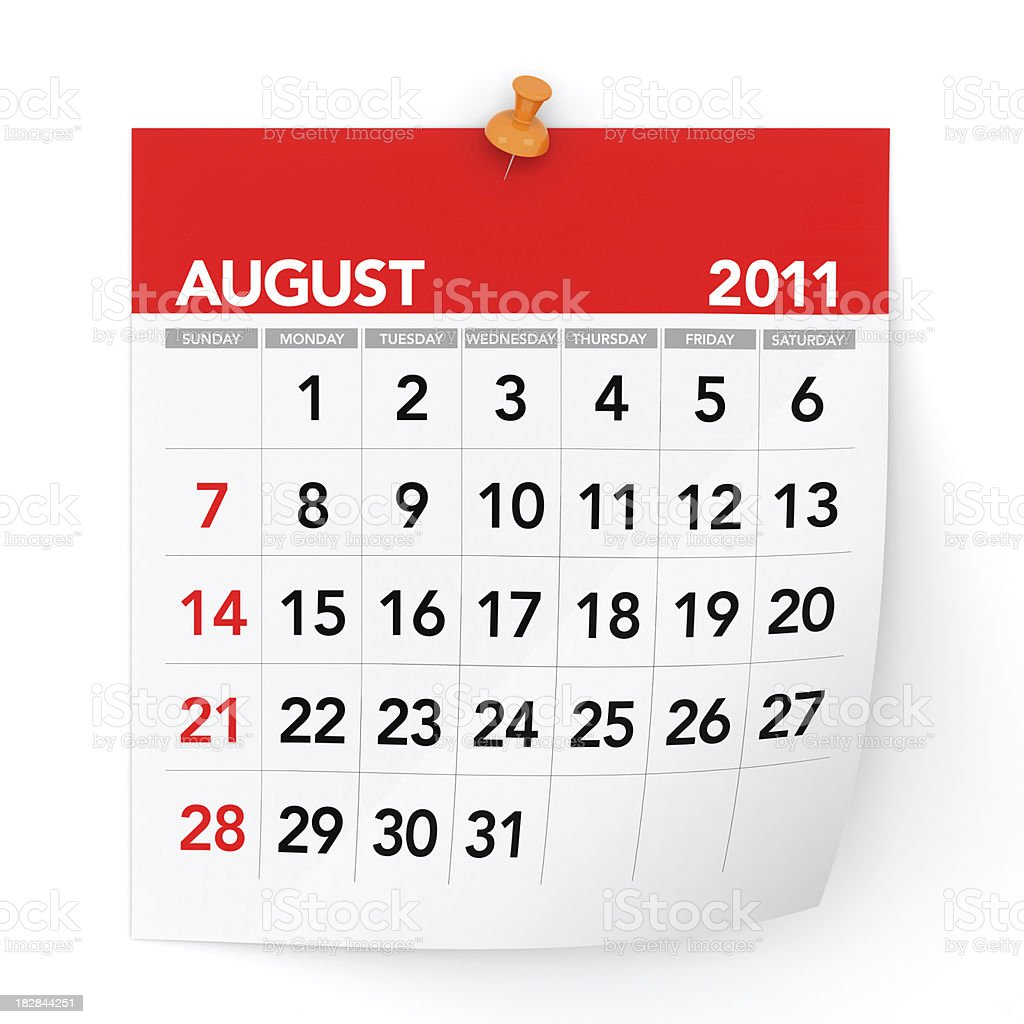 August 2011 - Calendar royalty-free stock photo