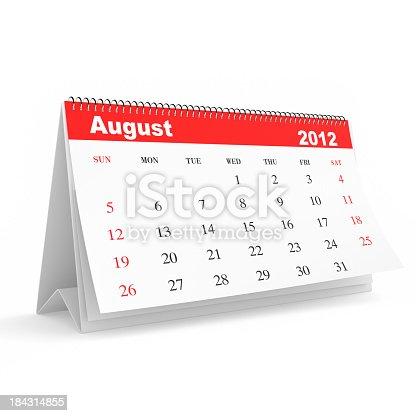 168445178 istock photo August 2012 - Calendar series 184314855