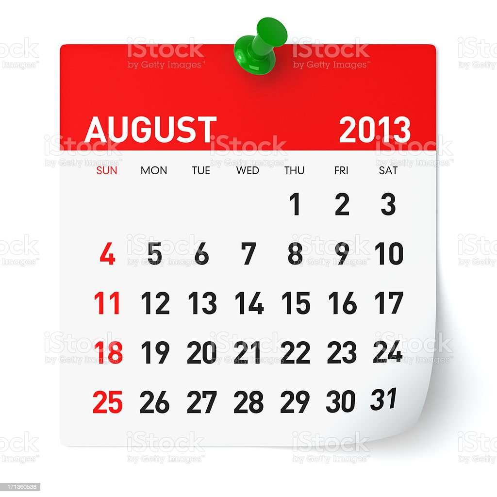 August 2013 - Calendar royalty-free stock photo