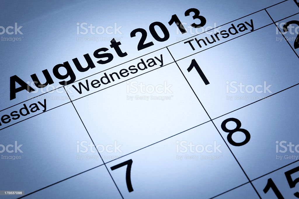 August 2013 calendar stock photo