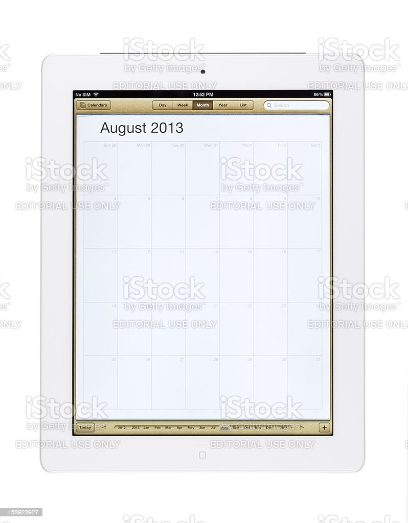 August 2013 Calender on New Ipad royalty-free stock photo